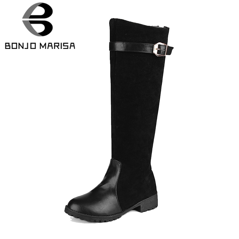 cc04b1d6a8f BONJOMARISA Winter Spring Big Size 34-43 Women Fashion Patchwork Ridding Boots  Ladies Add Fur Knee High Boots Heels Shoes Woman