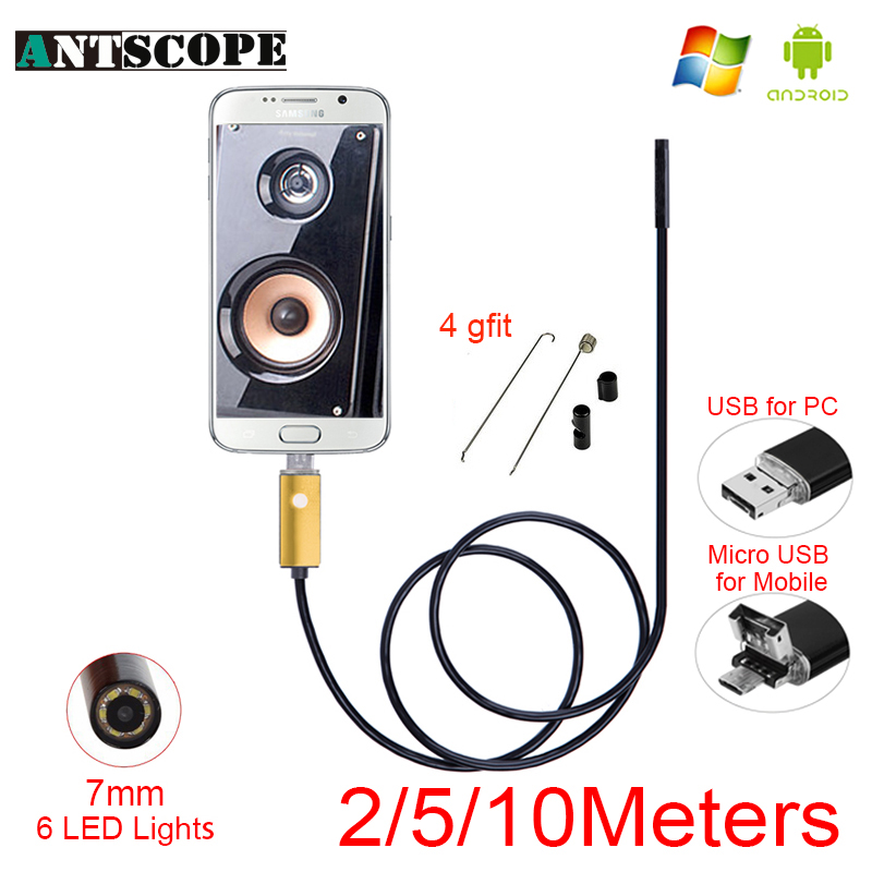 Antscope 7mm USB Android Endoscope Camera Snake Tube Inspection 2m 5m 10m PC Android Phones Borescope USB Endoscopic Camera gakaki 1 2 3 5 5m 8mm universal wifi android endoscope inspection usb borescope tube snake mini camera micro cam for iphone pc