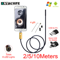 7mm USB Android Endoscope Camera Golden Snake Tube Inspection 2m 5m 10m Computer Android Phones Borescope
