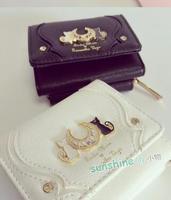 Samantha Vega Sailor Moon Wallet Women Lady Short Wallets Purse Female Black White Color Cat PU