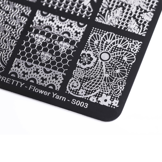 BORN PRETTY Lace Series Nail Stamping Plate Flower Yarn Square Template Nail Art Stamp Plate