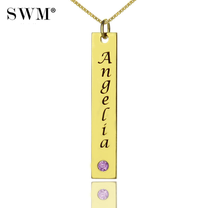 Strong-Willed Custom Name Tag Necklace Women Costume Letter Vertical Bar Necklaces Gold Nameplate Birth Stone Chains Jewelery Gift Friend With Traditional Methods Jewellery & Watches