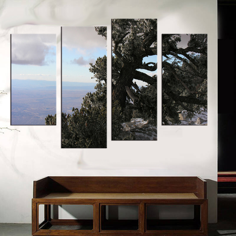 4 pieces Art Forest Landscape Oil Painting Print On Canvas Scenery Painting Wall Decor sitting room bedroom in Painting Calligraphy from Home Garden