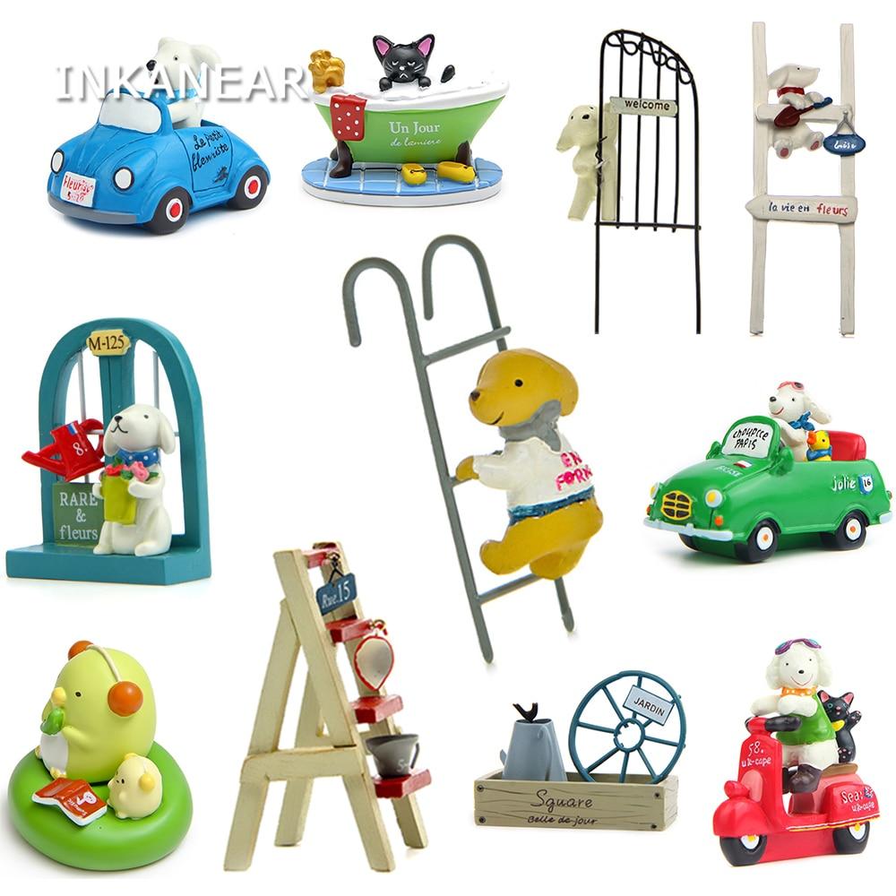 Zakka Resin Kawaii Dog Cat Puppy Bonsai Miniature Figurines Flowerpot Terrariums Ladder Car Toys Garden Stands Decor Ornaments
