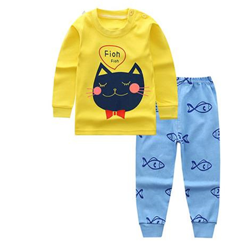 Baby Clothing Sets Kids Newborn Boys Girls Long Sleeve Cartoon T-shirt +Pants Infant Clothes Pajamas Underwear 3-24M A0069 baby boy clothing ins baby girl long sleeved top t shirt pants cartoon penguin sheep newborn infant toddle clothes sets