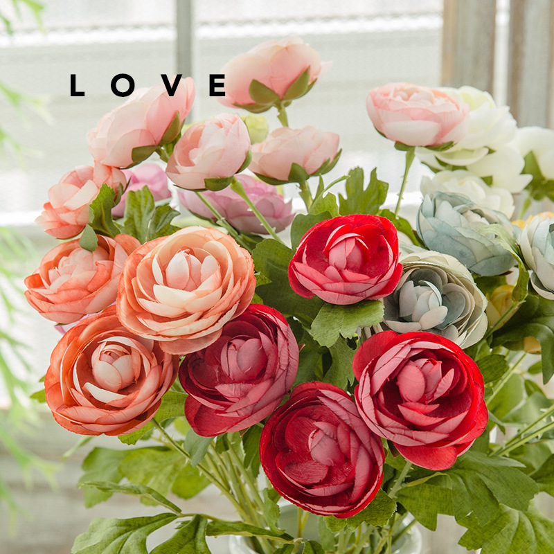 Tea Rose Artificial Silk Flower Bouquet Home Hotel Table Decoration Fake Flower Wedding Bride Holding Floral Bouquet(China)