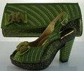 Zapatos de la Señora africana Con los Bolsos que Emparejan Zapatos de Diseño Italiano Y Bolsas Establecidas Con Diamantes de Imitación Para El Partido de Las Mujeres Bombea Los Zapatos ME2211