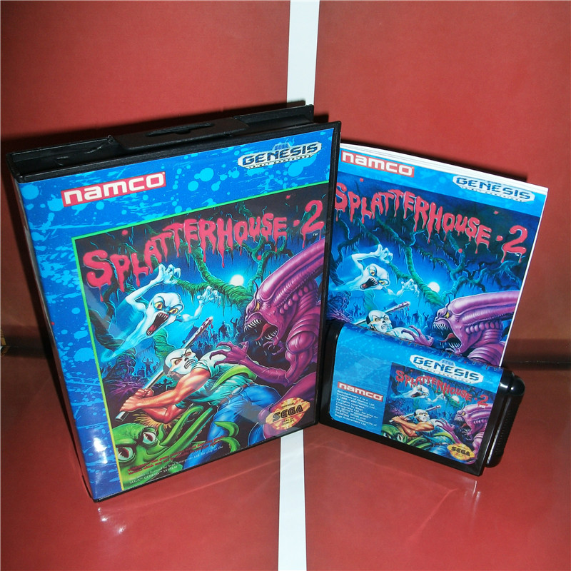 Splatter House 2 US Cover with Box and Manual For Sega Megadrive Genesis Video Game Console 16 bit MD card