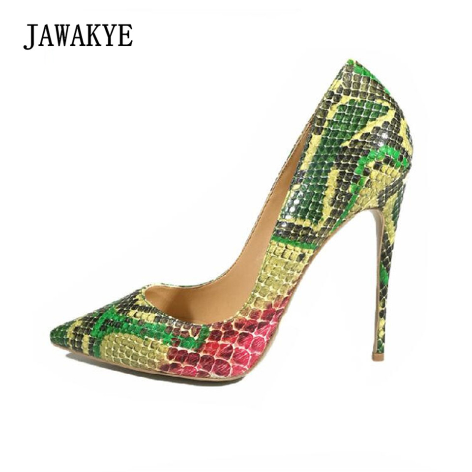 JAWAKYE Sexy Women Pumps Green Snake Pattern Extreme high heels Shoes Pointy Toe Fashion Party Dress Shoes Woman big size 40 41 42 women pumps 11 cm thin heels fashion beautiful pointy toe spell color sexy shoes discount sale free shipping