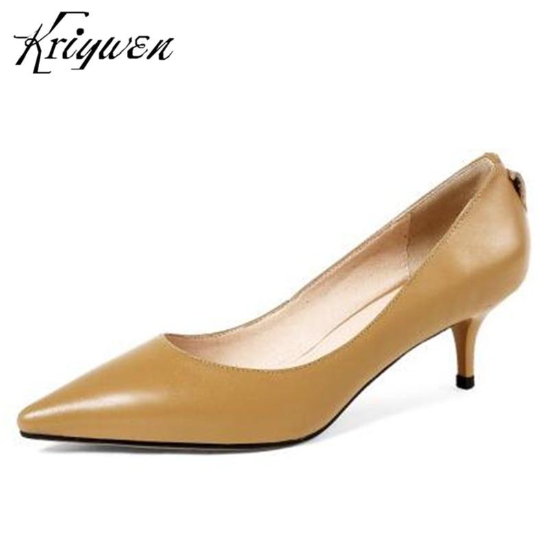 Kriywen 2018 Женская обувь элегантный Натуральная кожа женщины классический удобную обувь женщины тонкий высокий каблук женщины туфли офис Леди насосы