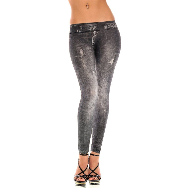 Women Slim Skinny Pencil Pants 2018 Newest Girls Look Jeans Look Faux Denim Stretch Skinny Pants Hot Sale Ladies Stretch   Legging