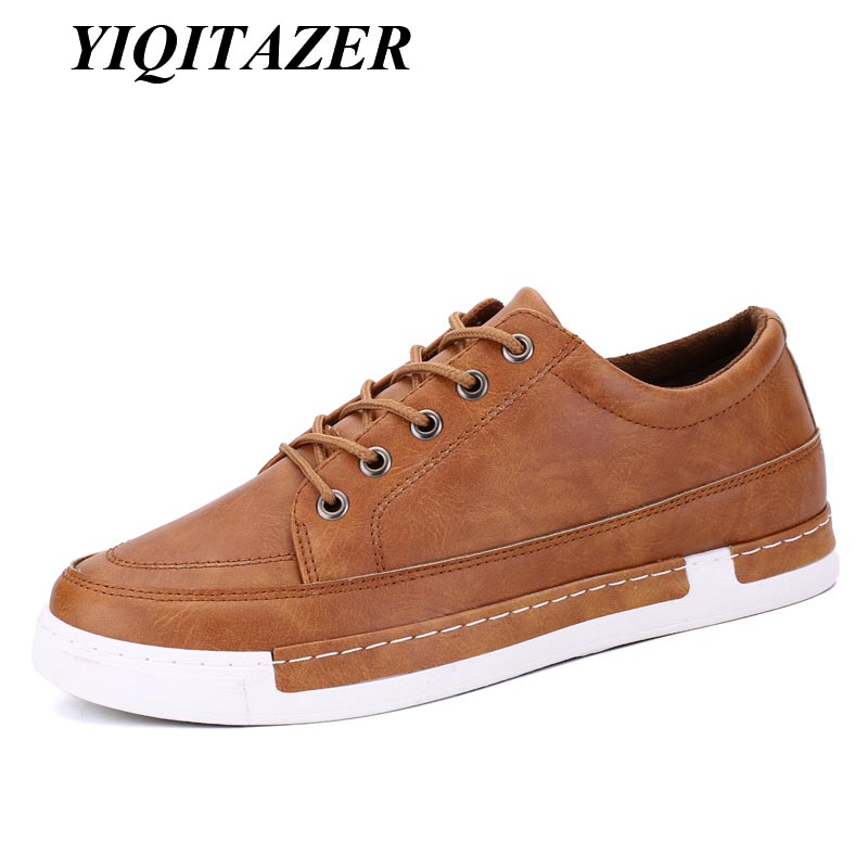 YIQITAZER 2017 Men Casual Shoes Man Leather Autumn Breathable Holes Luxury Brand Flat Shoes for Men Drop Shipping Brown Black 2017 new autumn winter british retro men shoes zipper leather breathable sneaker fashion boots men casual shoes handmade