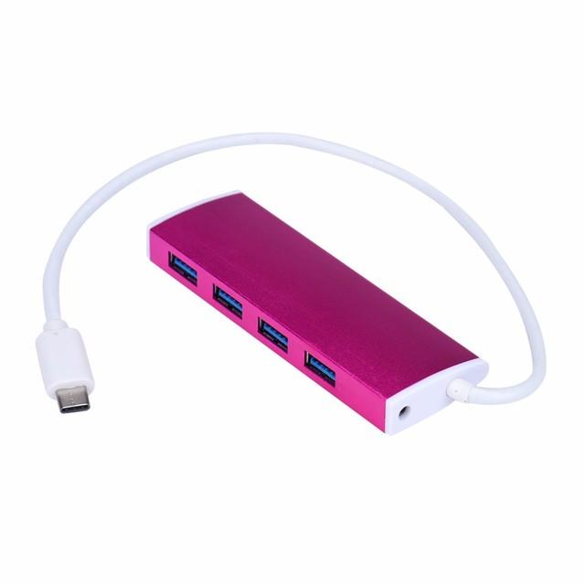 Mini Portable Plug and play New Aluminum USB 3.1 Type-C USB 3.0 4 Port Hub Cable Converter Adapter Free Shipping&Wholesale 1 pc