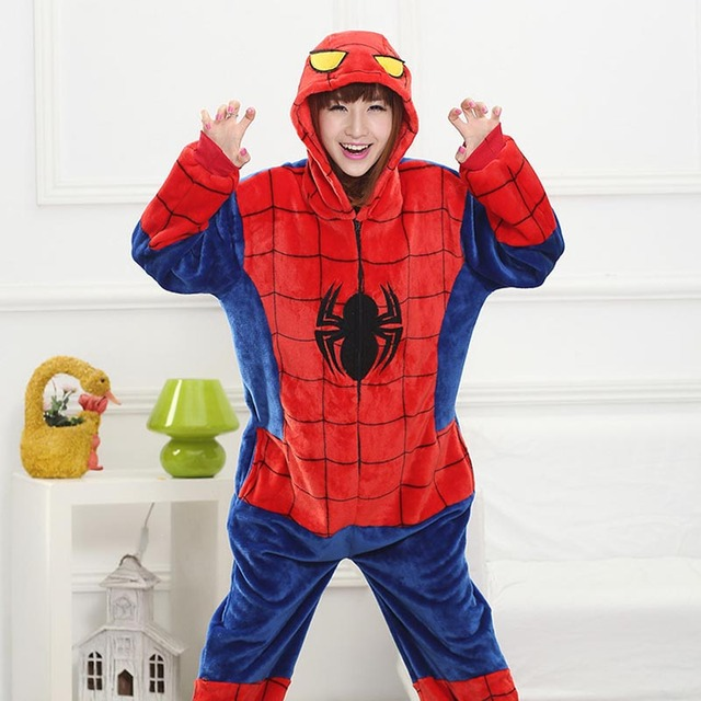 02afdd3f3958 Unisex Spiderman Onesies Adults Pajamas Flannel Hooded Cosplay Boys Girl  Kids Onesie Sleepwear Costumes Women Men