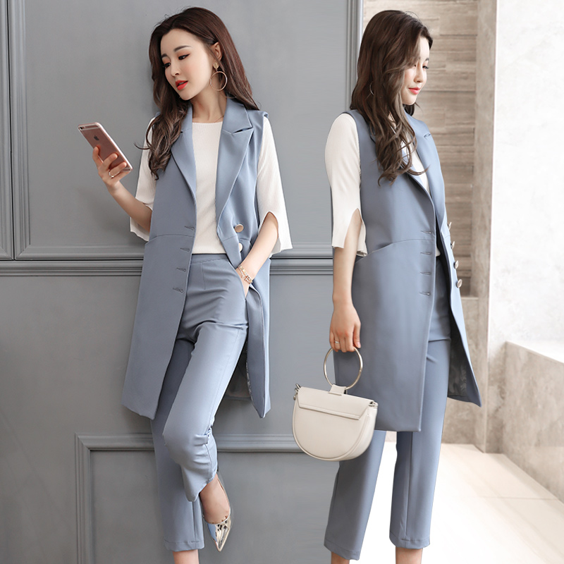 New Fashion 2017 Autumn Casual Pant Suits OL Style Sleeveless Women Sets Waistcoat Pants Hot Sale Elegant Female Vest Coat Sets