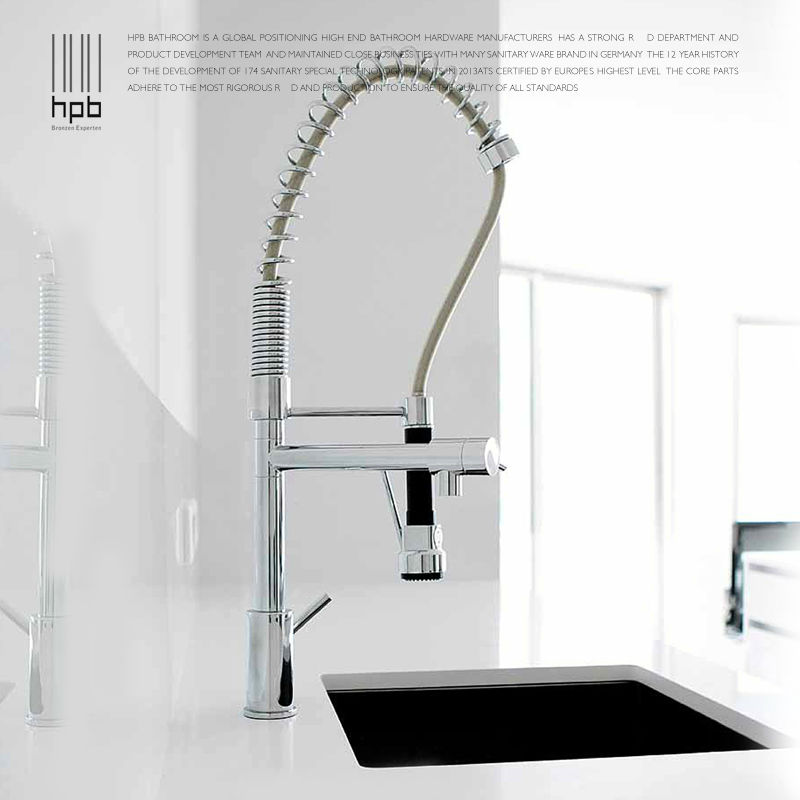 HPB Solid Brass One Hole Deck Mount Kitchen Faucets with Pull Down sprayer Sink Mixer Tap