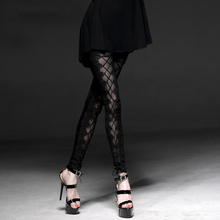 Gothic Mesh Laciness Leggings for Women Steampunk Black High Waist Skinny Close-Fitting Long Pants