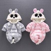 Fashion Winter Newborn Baby Girl Boy Romper Cartoon Panda Character Hoodie Baby Boys Clothes Thick Warm