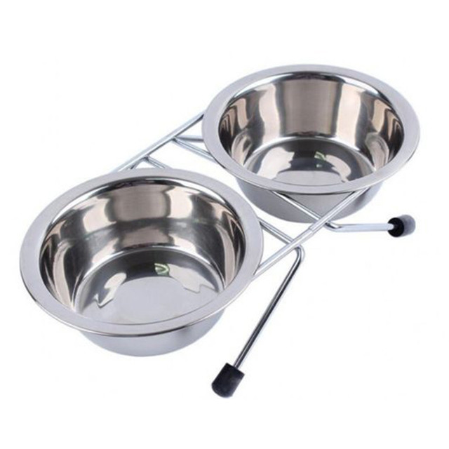 Pet Bowl Double Stainless Steel With Stand Feeder