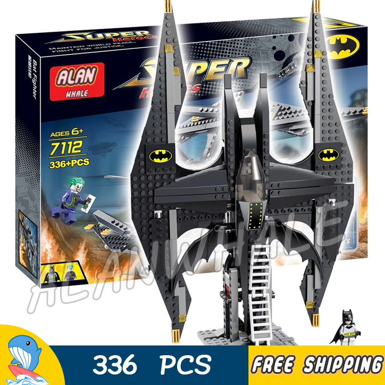 336pcs Super Heroes Batman Movie Batwing Battle Jokers Aerial Assault 7112 Model Building Blocks Toy Brick Compatible With lego