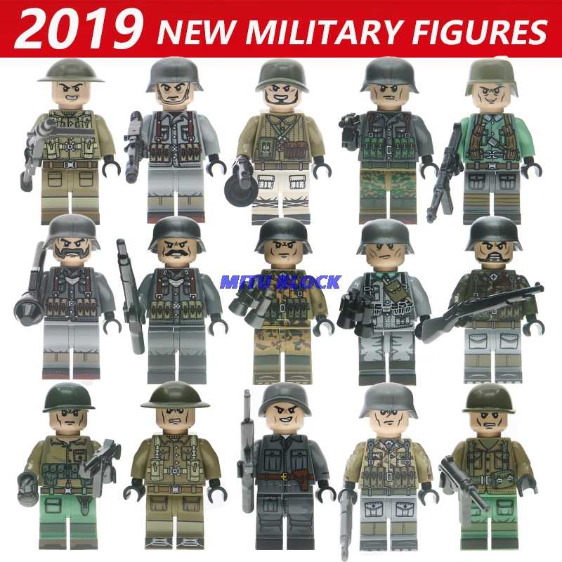 Single Sale Legoelys WW2 Motorcycle Soldiers Military Figures Guns Army Weapons Accessories Building Block Brick Children Toy