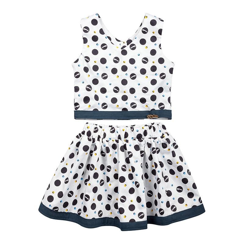 Summer dress Girl Clothes Children Sets Outfits Children Sweet Lovely Dots Sleeveless t shirt+Skirt Suits Girls Set Kids Costume
