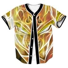 Anime Dragon Ball Z Super Saiyan Jersey Kurzarm Mit Tasten Oberhemd Männer Frauen Streetwear Baseball Jersey Tops Tees