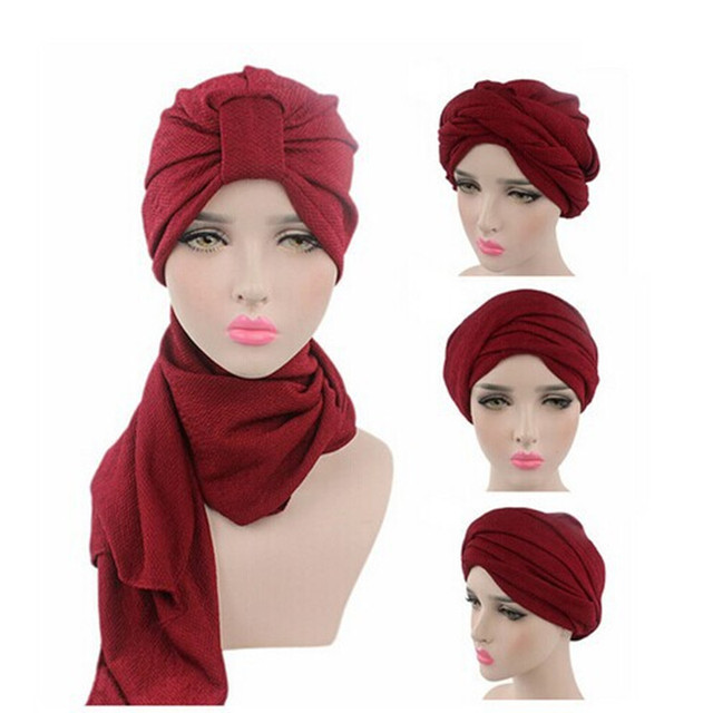 2017 Nuove Donne di Modo Cappelli Musulmano Foulard Cappello Stile Indiano  Elastico Turbante di Capelli Del 8a73ee6f435e