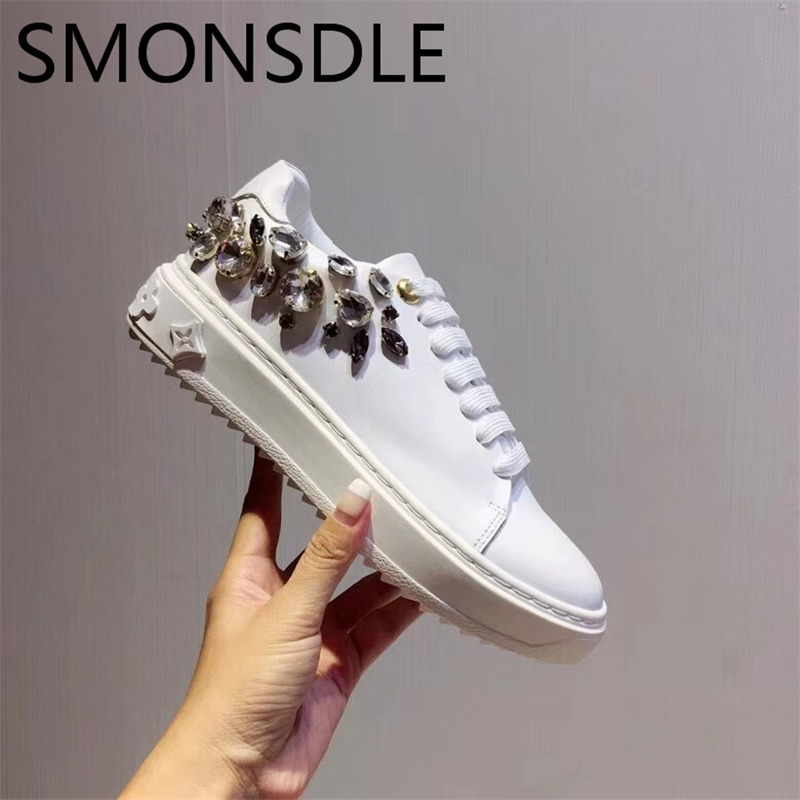SMONSDLE 2019 New Spring Autumn Women Flat Shoes Casual Round Toe Crystal Lace Up Women Shoes Real Leather Flat Shoes Woman new high quality women shoes solid black spring autumn brogue shoes woman s fretwork lace up flat heels round toe oxfords shoes