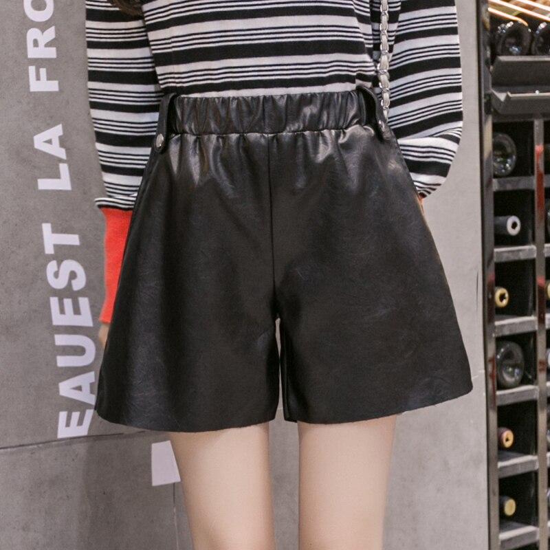 5xl Plus Big Size Shorts Women Spring Autumn Winter 2017 PU Elastic Waist Leather Thin Black Casual Shorts Female Y0925