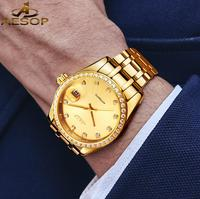 Luxury Golden Switzerland Watches Mechanical Men Watch Stainless Steel orologi Tourbillon Automatic Watch For Men Calendar Swiss