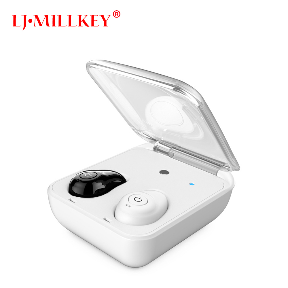 Mini Bluetooth In-Ear Stereo Newest Twins True Wireless Earbuds TWS Wireless Earphones With Charging Case LJ-MILLKEY YZ145 leegoal mini twins true wireless stereo bluetooth in ear earphone tws earbuds with mic charging box for iphone7 android phone