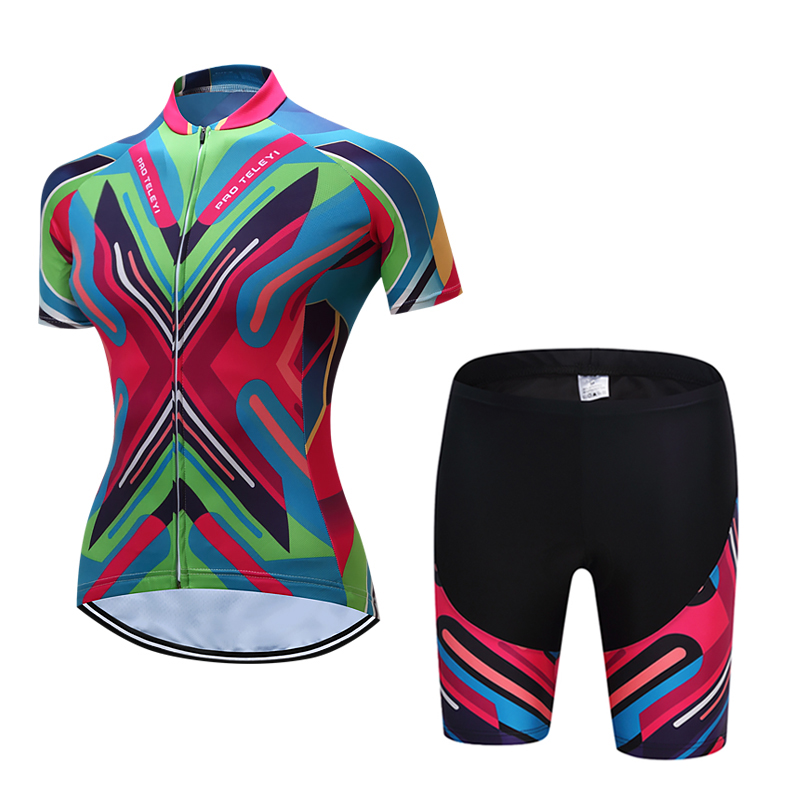 2017 new TELEYI Cycling set Summer Women's Short Cycling Jerseys  Sleeve Set bike set Quick Dry Breathable Bicycle Wear ckahsbi winter long sleeve men uv protect cycling jerseys suit mountain bike quick dry breathable riding pants new clothing sets