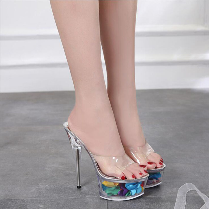 summer new glass flowers transparent high heeled sandals thin heels waterproof sandals shoes