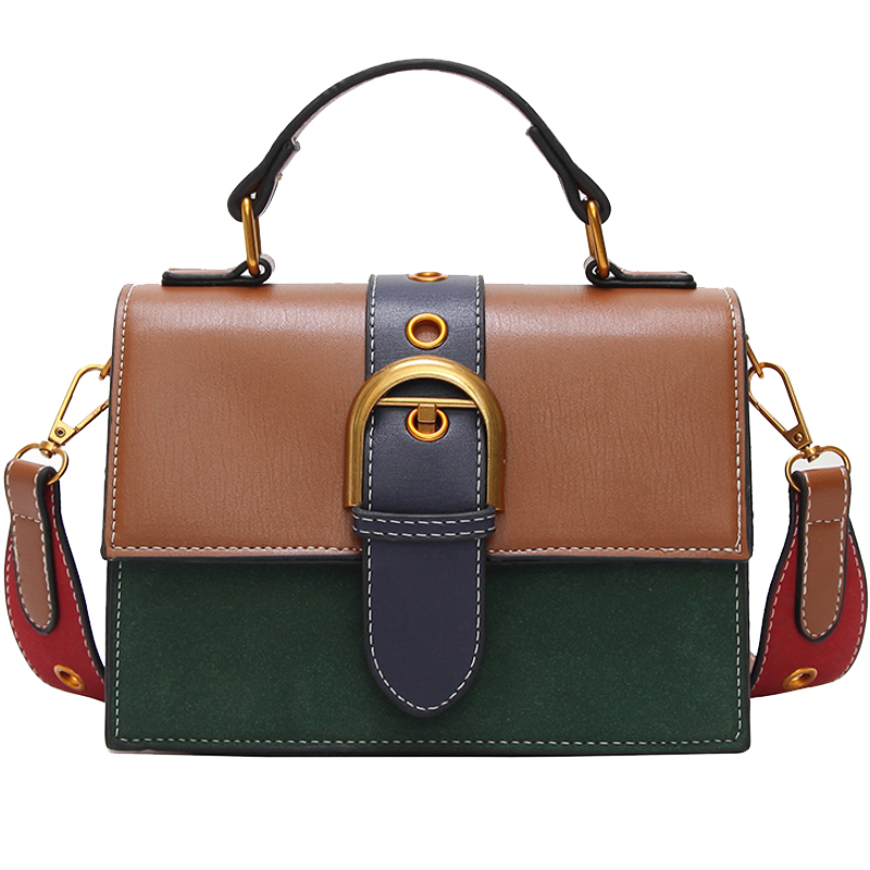 New Korean fashion simple clamshell women leather handbags Hit color Calfskin female bags casual belt decorative messenger bags etersto2018 new casual fashion stitching hit color handbags new fashion handbags parker women s party wallets ms messenger bag
