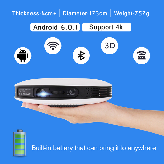 2D to 3D Mini DLP Projector Android Full HD 4K video