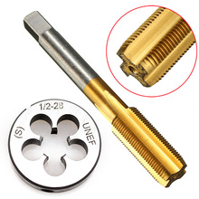 High Hardness UNF 1/2 -28 HSS Titanium Coated Tap & Round Die Set Right Hand Thread Tool For Mold Machining Mayitr 1 2 28 unef 5 8 24 unef hand tap round die cut hss right hand tapping tool for hand tap tools tapping set