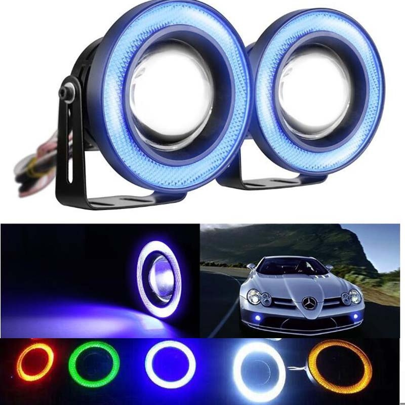 HENYNET 1 Pair 2.5/3/3.5 Car LED Fog Light Projector Angel Eyes Bulb Cob Angel Eyes Halo Ring ,7 Color