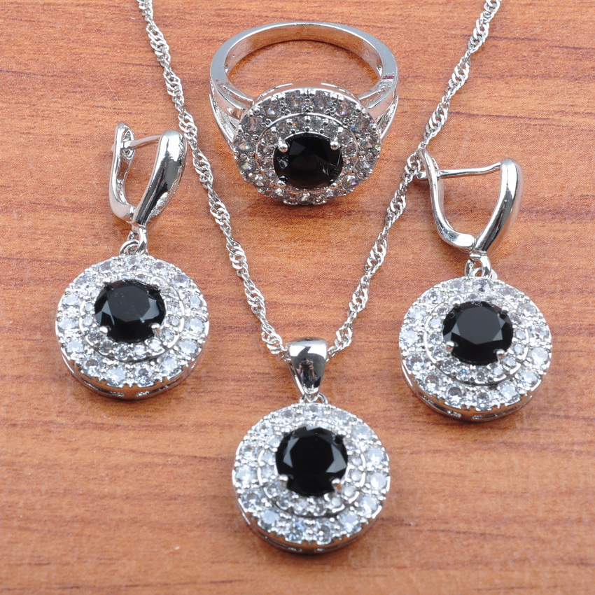 AAA+ Quality Black Round Zirconia Silver 925 Jewelry Sets Women Bridal jewelry Earrings Necklace Pendant Ring  JS0270