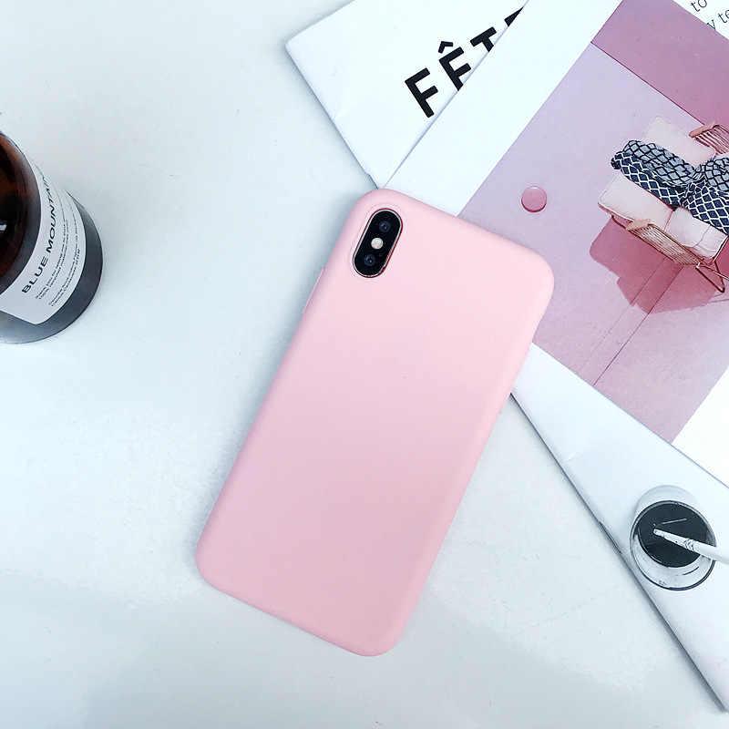 Matowe etui na telefon do iPhone 6 7 8 Plus 6s 7Plus 8 Plus X S 5 5S SE XR XS MAX jednokolorowe etui z miękkiego tpu silikonowa tylna okładka Capa