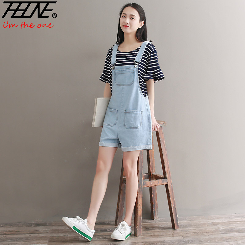 THHONE Womens Summer Jumpsuit Shorts Jeans Strap Suspender Overalls Bodysuit Romper Denim Jeans Playsuits White Shorts Summer