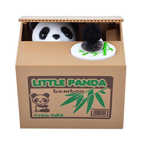 HGHO-Cut Automatic Stole Coin Piggy Bank Panda Yellow / White Cat Money Box Money Saving Box Moneybox christmas Gifts Kid