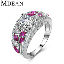 MDEAN White Gold Color Rings for women bijoux vintage pink Ring fashion AAA Zircon Jewelry Bague women Rings Accessories MSR429