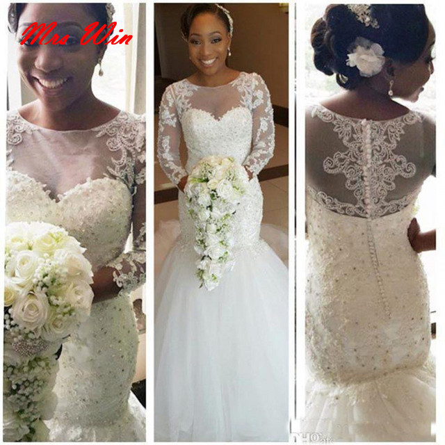 4db4ed2caea3 Beaded Tulle Sexy Vintage Lace African Wedding Gowns Long Sleeve Mermaid Wedding  Dresses For Black Women 2019