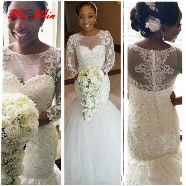 Perlen Tüll Sexy Vintage Spitze Afrikanische Hochzeit Kleider ...
