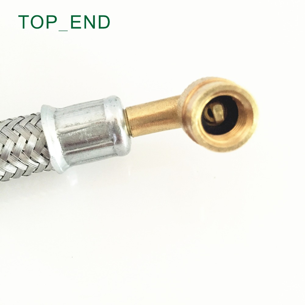 8 inch,90 Degree Bent End,Stainless Steel Mesh Wrapped,Flexible Rubber Valve Extension,Work w/ Tire Valve Directly