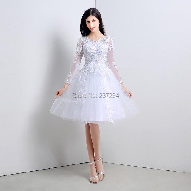 long sleeve lace short wedding dresses 2016 v neck short knee length bridal dress