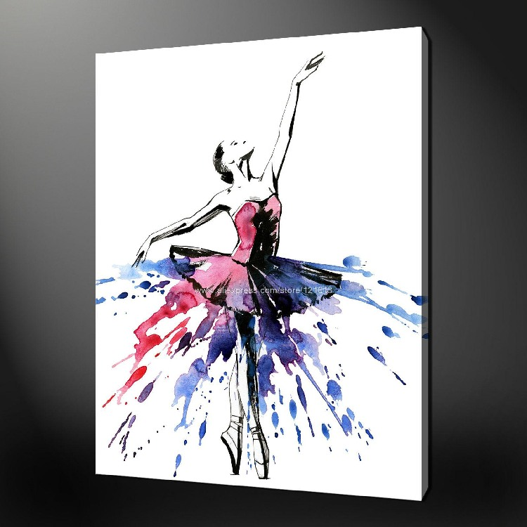 Big Canvas Art Modern Watercolor Abstract Ink Splash Big: Abstract Ballerina Premium Canvas Picture Wall Art Oil