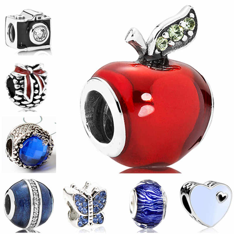 Luxurious Crystal Camera Family Tree Love Heart Butterfly Apple Beads Fit Pandora Charm Bracelets & Bangles Women Making Jewelry