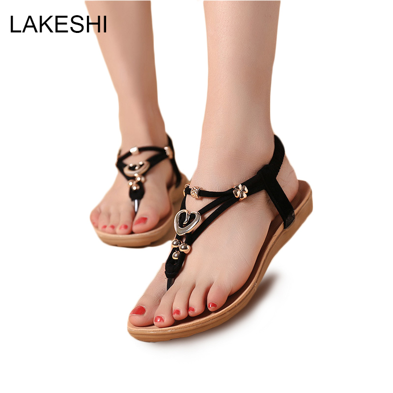 LAKESHI Women Sandals Summer Shoes Women Flat Sandals Ankle-Strap Beach Sandals Fashion Women Shoes new 2017 summer women sandals european fashion simple flat sandals with flat sandals serpentine t type leather shoes women